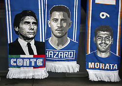 Chelsea scarves on sale before the Premier League match at Stamford Bridge, London.