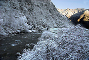 River Pitiao, Snow and Frost covered, Wolong Research and Conservation Centre for Giant Panda, Sichuan (Szechwan) Province Central China, reserve, breeding centre, asia, asian, chinese,