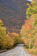 Kancamagus Highway and trees in Fall color.