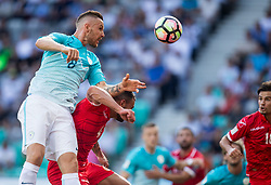 Jasmin Kurtic of Slovenia vs Steve Borg of Malta during football match between National teams of Slovenia and Malta in Round #6 of FIFA World Cup Russia 2018 qualifications in Group F, on June 10, 2017 in SRC Stozice, Ljubljana, Slovenia. Photo by Vid Ponikvar / Sportida