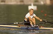 Bled, Slovenia, YUGOSLAVIA.  BEL LM1X, Wim VAN BELLEGHEM. 1989 World Rowing Championships, Lake Bled. [Mandatory Credit. Peter Spurrier/Intersport Images]