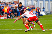 Leeds Rhinos centre Kallum Watkins (3) in action  during the Betfred Super League match between Hull Kingston Rovers and Leeds Rhinos at the Lightstream Stadium, Hull, United Kingdom on 29 April 2018. Picture by Simon Davies.