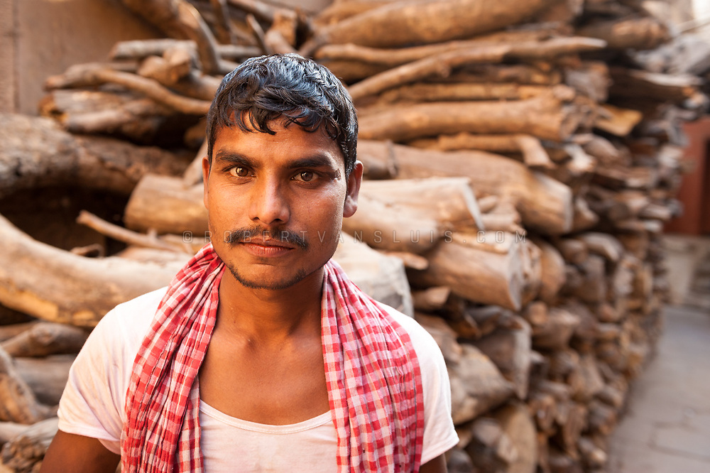 Portrait of a wood porter near the Manakarnika cremation ground, Varanasi, India. Photo © robertvansluis.com
