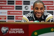 Wales captain Ashley Williams smiles during the press conference. Wales football team press conference at the Cardiff city Stadium Cardiff, South Wales on Thursday 11th June 2015. The Wales team are preparing for tomorrow's Euro 2016 qualifying match against Belgium.<br /> pic by Carl Robertson, Andrew Orchard sports photography.