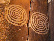 Twin spiral petroglyphs above the Village of the Great Kivas, Zuni Reservation, New Mexico.