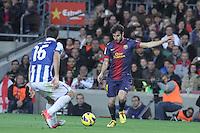 06.01.2013 Barcelona, Spain. La Liga day 18. Cesc Fabregas in action during game between FC Barcelona against RCD Espanyol at Camp Nou