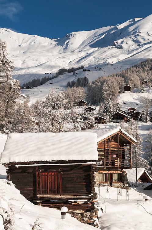 Suisse, canton du Valais, vallée d'Evolène, Village de Lasage // Switzerland, canton of Valais, Evolene valley, village of Lasage