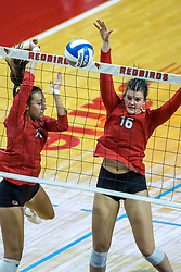 BLOOMINGTON, IL - October 23: Kaitlyn Prondzinski  and Nicole Lund at the net for a block during a college Women's volleyball match between the ISU Redbirds and the Drake Buldogs on October 23 2021 at Illinois State University in Normal, IL. (Photo by Alan Look)