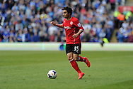 Cardiff city's Fabio Da Silva in action.Barclays Premier league match, Cardiff city  v Stoke city at the Cardiff city stadium in Cardiff, South Wales on Saturday 19th April 2014. pic by Andrew Orchard, Andrew Orchard sports photography,