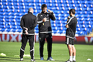Chris Coleman, the Wales manager looks on during Wales football team training session at the Cardiff city stadium  in Cardiff, South Wales  on Monday 12th October 2015. The team are training ahead of their final Euro 2016 qualifying against Andorra tomorrow.<br /> pic by  Andrew Orchard, Andrew Orchard sports photography.