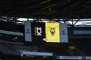 The match day scoreboard  during the EFL Sky Bet League 1 match between Milton Keynes Dons and Oxford United at stadium:mk, Milton Keynes, England on 27 February 2021.