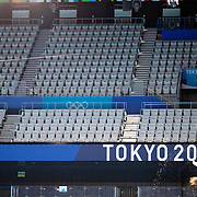 TOKYO, JAPAN  July/August: Photo Essay by Tim Clayton<br /> <br /> Diving. Competition warm up. Tokyo Aquatics Centre. 8/16<br /> <br /> If the athletes are the heart of any sporting event, the soul are the spectators.Sadly, due to covid 19 restrictions spectators were banned from viewing live what has now become 'the greatest sporting show on earth' The Olympic Games. The cavernous stadiums, many of exceptional quality were left to the whispers of Olympic triumphs past, spirits and history breezing through the empty stands in an attempt to muster up a trace of emotion. The athletes performed, it was no dress rehearsal, but a calling from within to follow that Olympic spirit of faster, higher, stronger and challenge themselves on the ultimate world stage, without the support of their soul mate, the fan.The Olympic Games Tokyo 2020 were like no other… Tokyo, Japan. July August 2021 (Photo by Tim Clayton/Corbis via Getty Images)