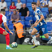 BARCELONA, SPAIN - August 18:  Didac Vila #17 of Espanyol in action during the Espanyol V  Sevilla FC, La Liga regular season match at RCDE Stadium on August 18th 2019 in Barcelona, Spain. (Photo by Tim Clayton/Corbis via Getty Images)