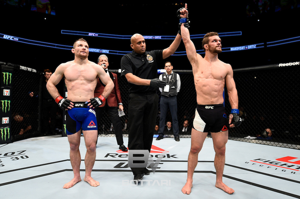 TORONTO, CANADA - DECEMBER 10:  Dustin Ortiz celebrates after his split-decision victory over Zach Makovsky in their flyweight bout during the UFC 206 event inside the Air Canada Centre on December 10, 2016 in Toronto, Ontario, Canada. (Photo by Jeff Bottari/Zuffa LLC/Zuffa LLC via Getty Images)