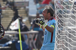 May 20, 2018 - Lisbon, Portugal - Aves' goalkeeper Quim celebrates a goal during the Portugal Cup Final football match CD Aves vs Sporting CP at the Jamor stadium in Oeiras, outskirts of Lisbon, on May 20, 2015. (Credit Image: © Pedro Fiuza/NurPhoto via ZUMA Press)