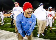 AC Flora Falcons head coach Dustin Curtis celebrates in the closing moments of their State Championship win over the North Myrtle Beach Chiefs at Benedict College.