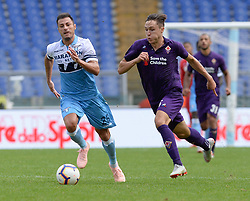 October 7, 2018 - Rome, Italy - Federico Chiesa and Stefan Radu during the Italian Serie A football match between S.S. Lazio and Fiorentina at the Olympic Stadium in Rome, on october 07, 2018. (Credit Image: © Silvia Lore/NurPhoto/ZUMA Press)