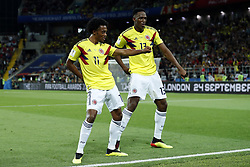 (l-r) Juan Cuadrado of Colombia, Yerry Mina of Colombia during the 2018 FIFA World Cup Russia round of 16 match between Columbia and England at the Spartak stadium  on July 03, 2018 in Moscow, Russia