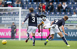 East Fife's Nathan Austin tackled by Falkirk's Peter Grant. Falkirk 3 v 1 East Fife, Petrofac Training Cup played 25th July 2015 at The Falkirk Stadium.