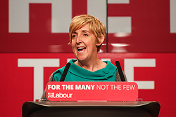 © Licensed to London News Pictures. 09/05/2017. Manchester, UK. Former Coronation Street actress Julie Hesmondhalgh speaks at an event with Labour leader Jeremy Corbyn in Manchester to launch the Labour Party's general election campaign. Photo credit : Ian Hinchliffe/LNP