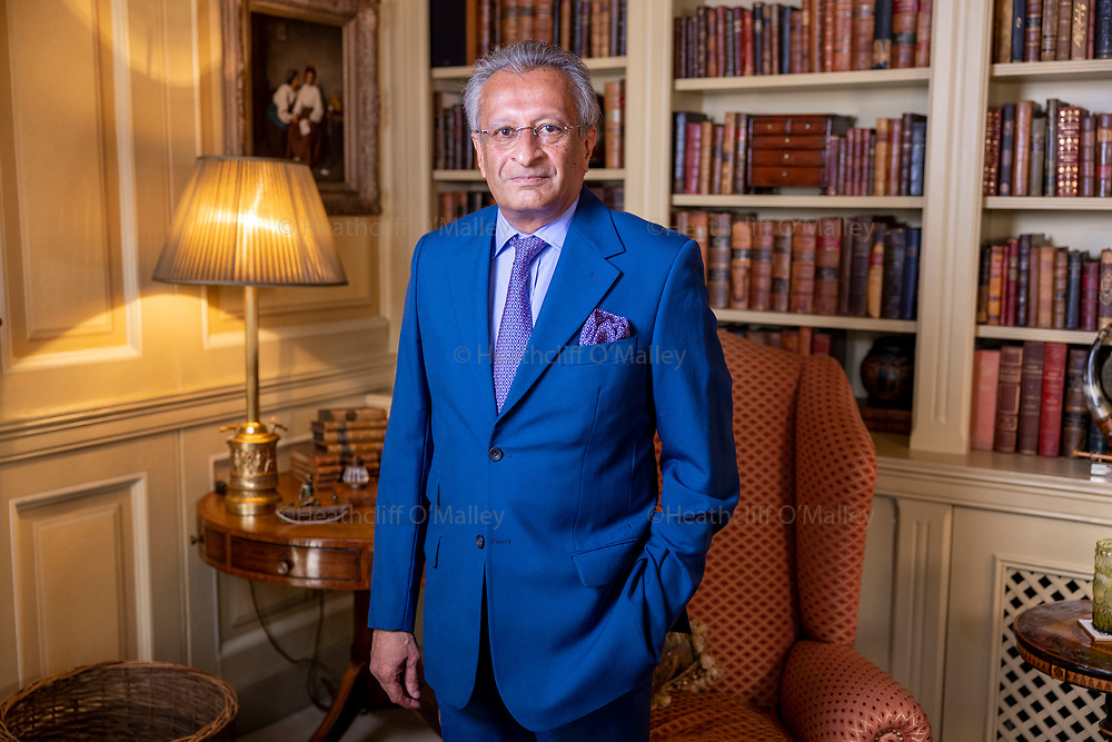 """Mcc0101320. Daily Telegraph<br /> <br /> DT News<br /> <br /> Lucy Fisher Interview<br /> <br /> Businessman and Philanthropist Mohamed Amersi photographed at his Mayfair """"pied-à-terre"""" .<br /> The Tory donor rubs shoulders with Royalty and is at the centre of a cash for access row engulfing the Conservative party .<br /> <br /> <br /> London 10 August 2021"""