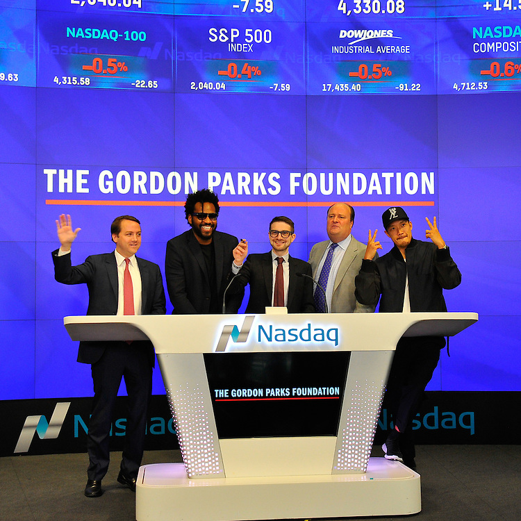 Alex Soros of The Gordon Parks Foundation Rings The NASDAQ Opening Bell in New York City.