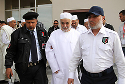 Former Libyan Prime Minister Baghdadi al-Mahmoudi (C) is escorted by police to his trial in Tripoli, capital of Libya, on Jan. 14, 2013. The trial of former Prime Minister Baghdadi al-Mahmoudi started here on Monday. Mahmoudi, who served as the last prime minister in former leader Muammar Gaddafi's administration from 2006 to 2011, fled to Tunisia in September 2011 after the armed rebels seized the Libyan capital of Tripoli during the unrest,  January 14, 2013. Photo by Imago / i-Images...UK ONLY
