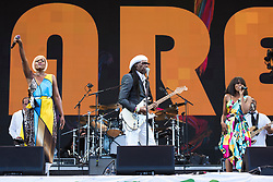 Chic performing on the Pyramid Stage during the Glastonbury Festival at Worthy Farm in Pilton, Somerset. Picture date: Sunday June 25th 2017. Photo credit should read: Matt Crossick/ EMPICS Entertainment.