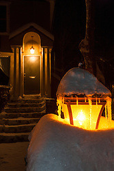 """""""Snowy Lamp Post 2"""" - Photograph of a snow covered lamp post and snowy walkway in Downtown Truckee, California."""