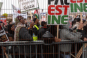 Anti Israel protest, London, 17/01/09: The crowd viewed through the fence