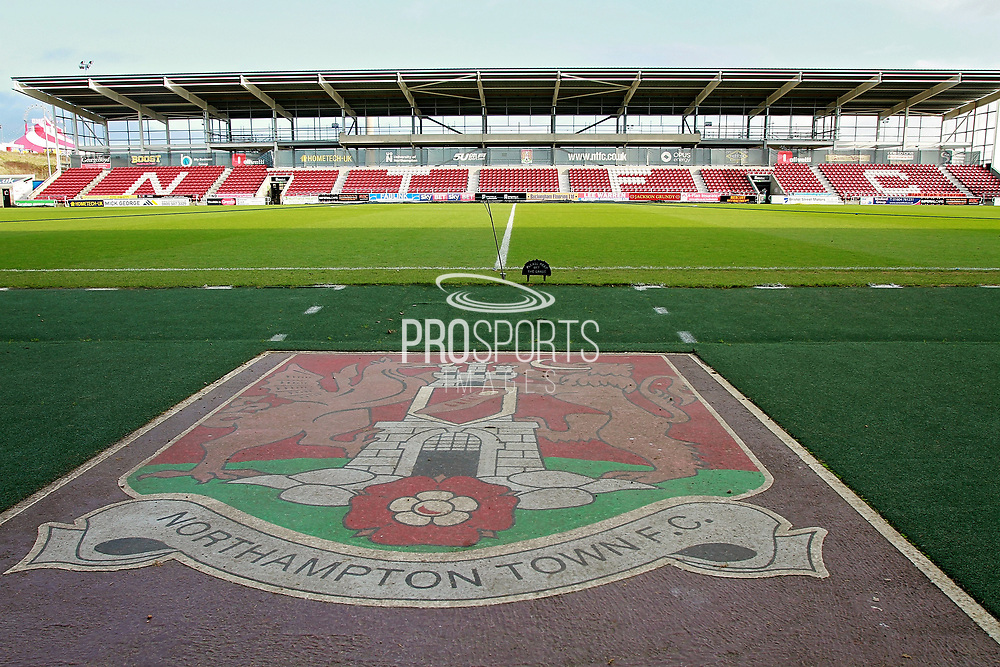 A stadium shot showing the club crest before the EFL Sky Bet League 1 match between Northampton Town and Bury at Sixfields Stadium, Northampton, England on 25 November 2017. Photo by Nigel Cole.