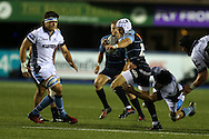 Matthew Morgan of Cardiff Blues is tackled by Tim Swinson of Glasgow Warriors. Guinness Pro12 rugby match, Cardiff Blues v Glasgow Warriors Rugby at the Cardiff Arms Park in Cardiff, South Wales on Friday 16th September 2016.<br /> pic by Andrew Orchard, Andrew Orchard sports photography.