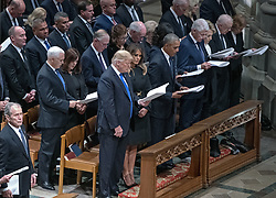 Current and former United States Presidents in attendance at the National funeral service in honor of the late former US President George H.W. Bush at the Washington National Cathedral in Washington, DC on Wednesday, December 5, 2018. Front row, from left to right: former US President George W. Bush, US President Donald J. Trump, first lady Melania Trump, former US President Barack Obama, former US President Bill Clinton, former US Secretary of State Hillary Rodham Clinton, former US President Jimmy Carter, former first lady Rosalynn Carter. Second row: US Vice President Mike Pence, Karen Pence, former US Vice President Dan Quayle, former US Vice President Dick Cheney, former US Vice President Joe Biden, Jill Biden.<br /> Photo by Ron Sachs / CNP/ABACAPRESS.COM