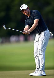 Rory McIlroy watches his ball miss the cup while putting on the 16th green during first-round action of the PGA Championship at Quail Hollow Club on Thursday, Aug. 10, 2017, in Charlotte, N.C. (Photo by Jeff Siner/Charlotte Observer/TNS/Sipa USA)  *** Please Use Credit from Credit Field ***