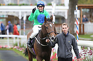 JUST HISS (16) ridden by Rachel Richardson and trained by Tim Easterby enter the Winners Enclosure after winning The Racebets Money Back 2nd 3rd 4th Handicap Stakes over 1m (£30,000)   during the Countryside Raceday, October Finale at York Racecourse, York, United Kingdom on 12 October 2018. Pic Mick Atkins