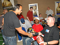 """Dwayne """"The Rock"""" Johnson visited Andrews AFB, MD and spent time with some vets who had just returned from Iraq."""