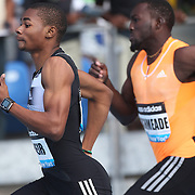 Warren Weir, (left), Jamaica, winning the adidas Men's 200m from Nickel Ashmeade, Jamaica, during the Diamond League Adidas Grand Prix at Icahn Stadium, Randall's Island, Manhattan, New York, USA. 14th June 2014. Photo Tim Clayton