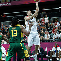 31 July 2012: Great Britain Nate Reinking goes for the layup during 67-62 Team Brazil victory over Team Great Britain, during the men's basketball preliminary, at the Basketball Arena, in London, Great Britain.