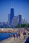 Image of Lake Michigan near Lincoln Park during a heat wave, Chicago, Illinois, American Midwest by Randy Wells