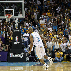 April 24, 2011; New Orleans, LA, USA; New Orleans Hornets point guard Jarrett Jack (2) reacts after hitting a jump shot late in the fourth quarter in game four of the first round of the 2011 NBA playoffs against the Los Angeles Lakers at the New Orleans Arena. The Hornets defeated the Lakers 93-88.   Mandatory Credit: Derick E. Hingle