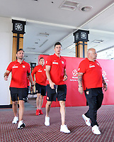 ARLAMOW, POLAND - MAY 30: Jakub Kwiatkowski, Robert Lewandowski and Piotr Zielinski during press conference at Arlamow Hotel during the second phase of preparation for the 2018 FIFA World Cup Russia on May 30, 2018 in Arlamow, Poland. MB Media