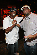 l to r: Bajo Mundo and Acho at The 2008 Black August Benefit Concert held at BB Kings on August 31, 2008..2008 begins the second decade of Black August Hip Hop Project benefit concerts which assist and support Political Prisoners. The Malcolm X Grassroots Movement is an organization whose mission is to defend the human rights of people and promote self-determination in our community.