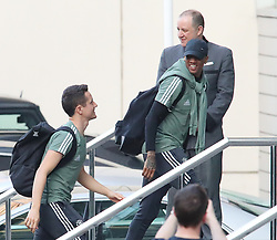 The Manchester United team arrive at The Lowry Hotel on Saturday evening to prepare for their home game against West Brom on Sunday afternoon. Seen: Ander Herrera and Ashley Young.
