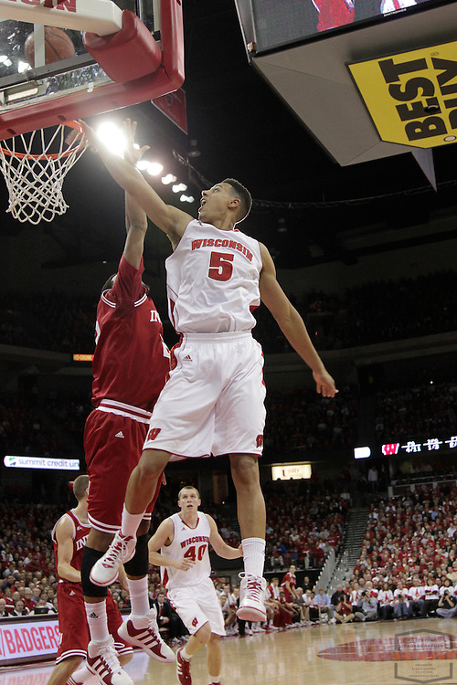 26 January 2012: Wisconsin Badgers guard/forward Ryan Evans (5)  as the Indiana Hoosiers played the Wisconsin Badgers in a college basketball game in Madison, WI.