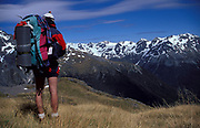 Walker at Nelson Lakes National Park, New Zealand, looking at view of snow capped mountains