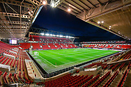General view inside a flood lit Ashton Gate Stadium before the The FA Cup fourth round match between Bristol City and Bolton Wanderers at Ashton Gate, Bristol, England on 25 January 2019.