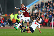 Mousa Dembele of Tottenham Hotspur looks to tackle Jeff Hendrick of Burnley. Premier League match, Burnley v Tottenham Hotspur at Turf Moor in Burnley , Lancs on Saturday 1st April 2017.<br /> pic by Chris Stading, Andrew Orchard sports photography.