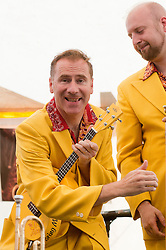 "On Lead Vocals Trumpet and ""Bring Me Sunshine"" Ukulele Mr Ian Clarkson with .Alex Douglas.9 September 2012.Image © Paul David Drabble"