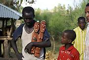 Africa, Ethiopia, carved wooden grave marker