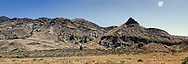 Panorama of Sheep Rock mountain in eastern Oregon in the John Day wilderness.